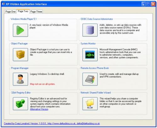 XP Hidden Application Interface