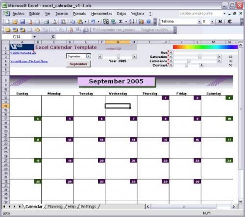 Excel Calendar Template 1.3.2 � Descarregar, Download, Baixar 1.3.2